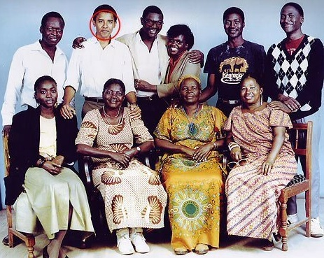 Obama with his African relatives